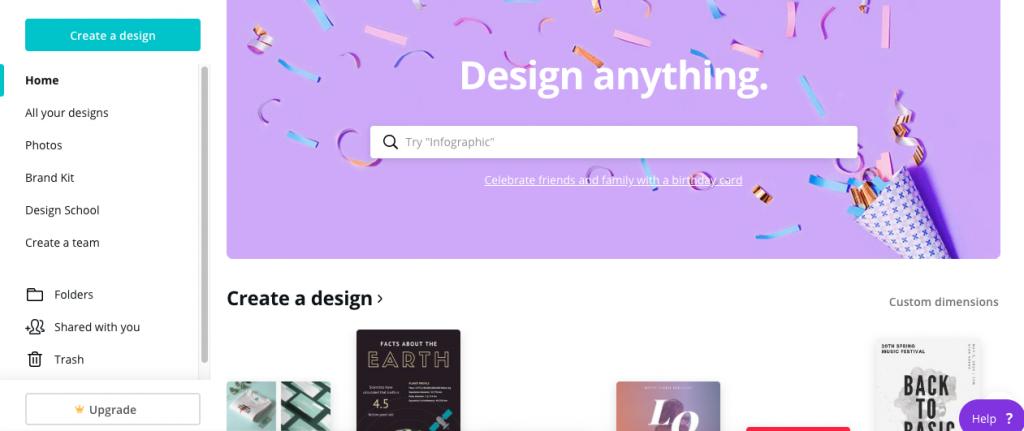 Canva home page screenshot