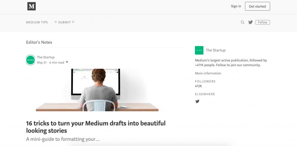 Medium home page screenshot