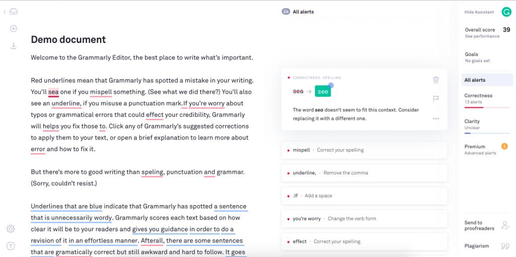 Grammarly demo document screen shot