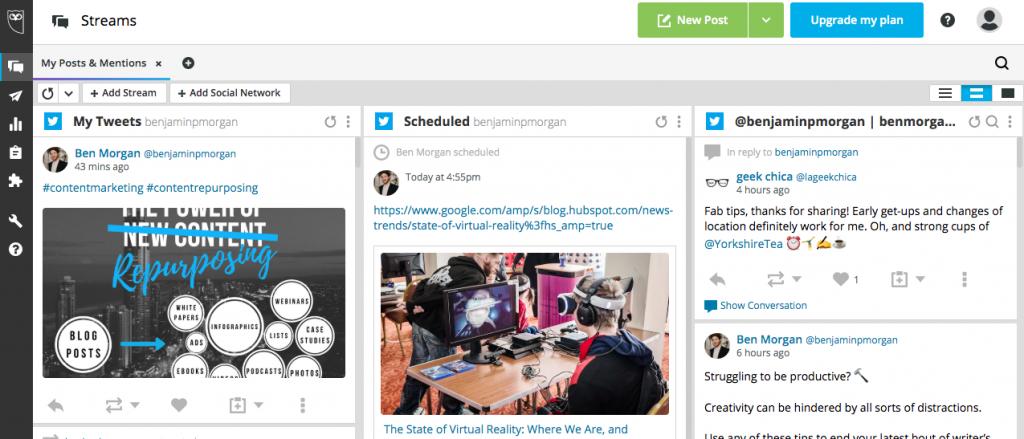 Hootsuite social media content marketing tools