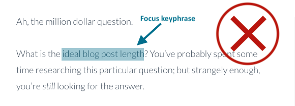 focus keyphrase not in introduction