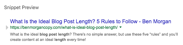 great on-page seo snippet yoast