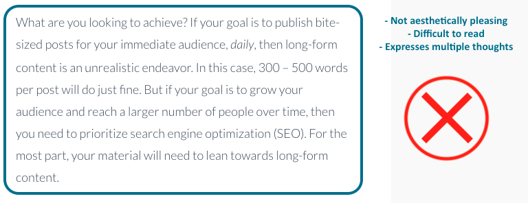 on-page seo long paragraph poor