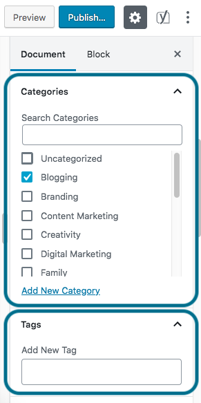 categories and meta tags